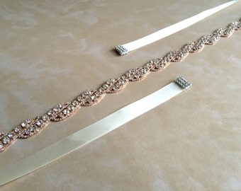 Rose Gold Bridal Sash | Rose Gold Rhinestone Sash Belt | Rose Gold Wedding Sash Belt