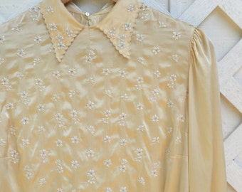 Vintage 1940's Silk Embroidered Blouse || Vintage Ivory Silk Blouse || Lucienne Hoff 40s Blouse