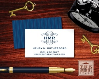 Kensington Calling Cards - Monogrammed Personal Business Cards - Masculine Contact Cards - Phone / Email / Social Media - for Gentleman