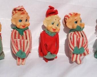 Lot of 5 Vintage Christmas Knee Hugger Elf Elves Striped Pixie