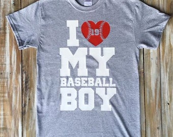 I Love My Baseball Boy Custom Shirt