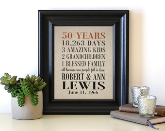 gift for parents grandparent gift golden anniversary 50th wedding