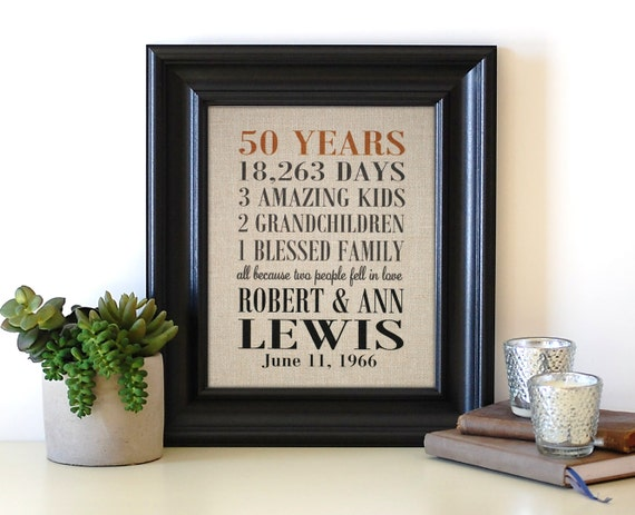 Golden Wedding Gift Ideas For Parents: 50th Anniversary Gifts 50th Anniversary Print Grandparent