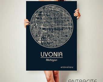 LIVONIA Michigan CANVAS Map Livonia Michigan Poster City Map Livonia Michigan Art Print Livonia Michigan poster Livonia Michigan map