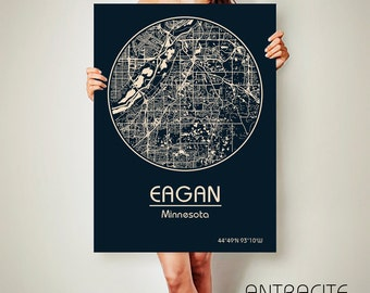 EAGAN Minnesota CANVAS Map Eagan Minnesota Poster City Map Eagan Minnesota Art Print Eagan Minnesota poster Eagan Minnesota map