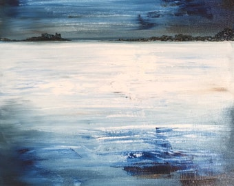 Blue View, Original Abstract Seascape Oil Painting on Canvas