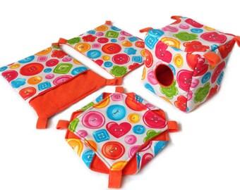 Rat hammock set - 4 hammocks: cube, honeycomb, pocket, rectangle. Buttons and orange. Hammocks for rodents, pet rat accessories.