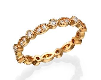 Rose Gold Engagement Ring, Gold Wedding Ring, Eternity Ring, Infinity ring, Promise Ring, Stacking Rings, Diamond Ring, Row Ring, Gift
