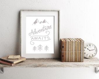 Adventure Awaits Travel Print Mountain Wall Art Rustic Decor Mocha Wall Decor Adventure Quote Print Inspirational Quote Art