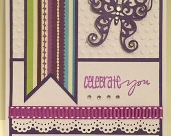 Celebrate You Card, Happy Birthday Card, Handmade Birthday Card