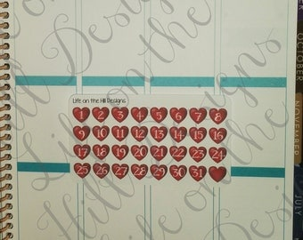 Planner Date Stickers- Hearts 32 ct IC02