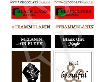 Stay Woke, Melanin on Fleek, And Black Lives Matter - African-American Awareness Planner & Scrapbook Stickers for Black History Month