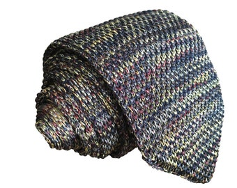 Mens Slim Woven Knitted Necktie by Poserclub - Multi Colour Blend