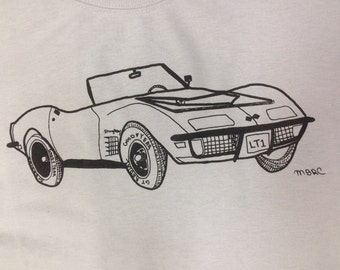 Chevy Corvette LT1 Tee Shirt- Corvette Tee Shirt- Corvette Gift- Muscle Car Tee- Classic Car Tee- Sexual Humor- Hand Drawn- Size Medium