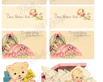 OH Baby Digital Collage Sheet Vintage Gift Tags
