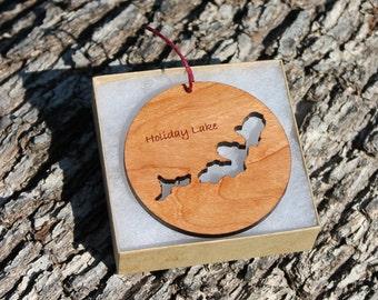 Custom lake outline wood ornament -- laser cut wood map -- urban wood -- reclaimed wood