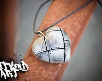 Handmade Metallic Faux Clay Heart Necklace
