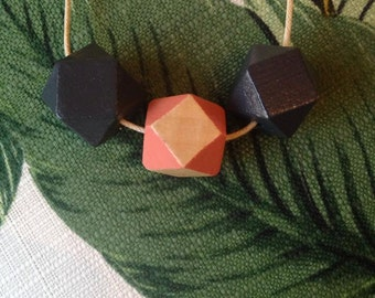 Hand Painted Wooden Geometric Bead Necklace Slate/Pink