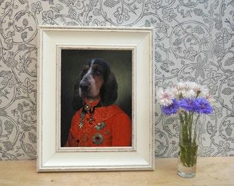 Basset Hound In Red Uniform Framed Pet Portrait Print