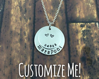 2 Disc Hand Stamped Necklace