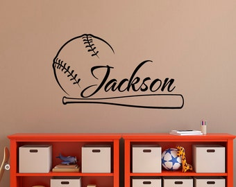 Baseball Wall Decal Name Personalized Boy Decals