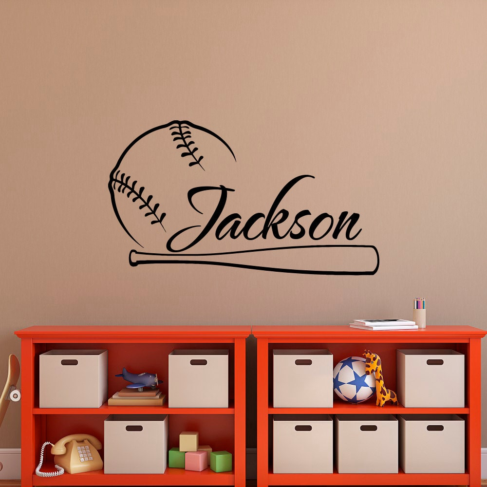 baseball wall decal name baseball personalized boy decal boy. Black Bedroom Furniture Sets. Home Design Ideas