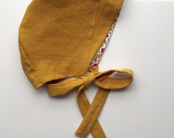 LAUREL Reversible Bonnet - Autumn Mustard