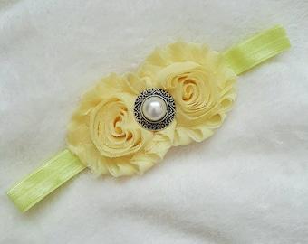baby girl headband, yellow shabby headband, shabby chic headband