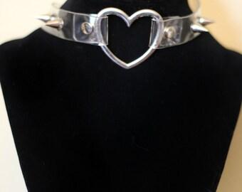 Clear Heart Studded Choker Collar Necklace