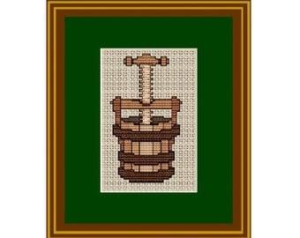 Counted Cross Stitch. Press. Pattern. Kitchen Decor.  PDF Instant Download.