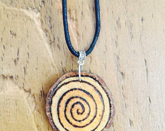 Spiral woodslice necklace *boho* *travel* *adventure*