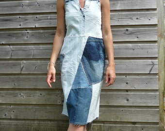 dress Halter jean recycled