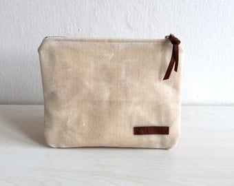Waxed Canvas Zippered Pouch,Beige Zippered Pouch,Waxed Canvas Bag,Waxed Canvas Clutch,Canvas zipper pouch,Beige Coin Purse,Canvas Coin Purse