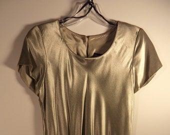 Vintage metallic mini dress// New years eve party// 1980's Hampton Dress// Size 6