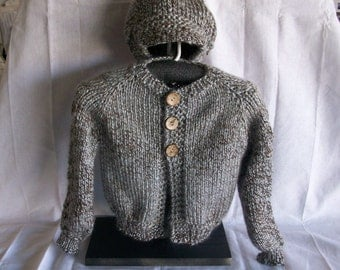 Boys cardigan Sweater and a matching hat with a bill on it three coconut buttons