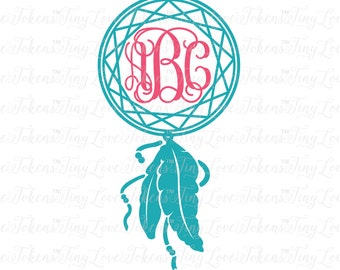 Dreamcatcher Monogram Design for Silhouette and other craft cutters (.svg/.dxf/.eps/.pdf)