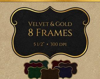 Velvet and Gold Frames - Digital Scrapbooking Frames, Commercial Use