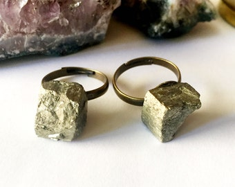 Unique Raw Pyrite Stone Rings ~ Adjustable Antique Copper Bands ~ Raw Natural Gold Pyrite Ring