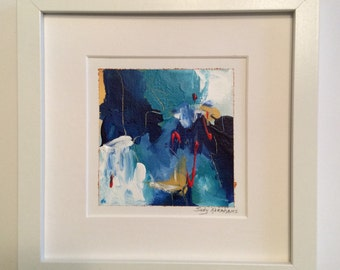 4x4 original painting matted to fit 8x8 frame -Blue Jazz #1