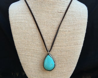 Handmade soldered teardrop turquoise pendant with dark brown leather necklace