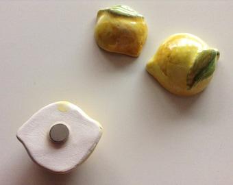 Lemon ceramic magnets   Sardinia ceramics   fridge magnets   kitchen decoration   miniature ceramics