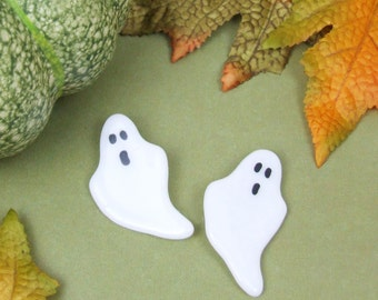 Handmade Glass Spooky Ghost Halloween Brooch by Jessica Irena Smith Glass