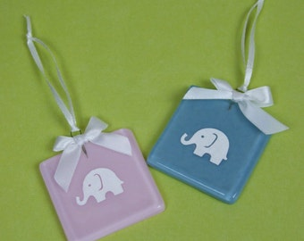 Handmade Blue or Pink Glass New Baby Keepsake / Shower Favour with Papercut Elephant by Jessica Irena Smith