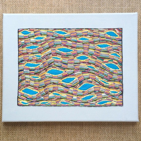 Abstract Embroidered Canvas Wall Art/turquoise Multi Color