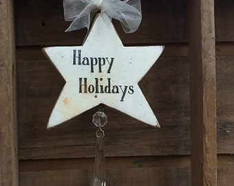 Wood Star Ornament, Wooden Ornament, Star with Crystal, White Star Ornament, Sun-catcher Crystal, Happy Holidays, Rustic Star, Distressed