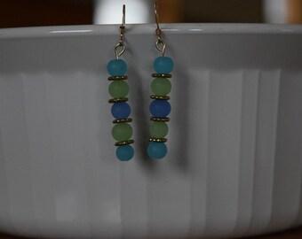 Blue and Green Beaded Dangle Earrings