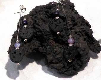 Silver Earrings w. Genuine Icelandic Lava, Natural Dull Polished Purple Agate and Crystal Rondels, Free shipping,