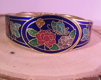 Vintage Cloisonne Bracelet Bangle Cuff Clamper Enamel Hinged Floral Butterfly Leaf Boho Hippie Gypsy Blue Goldtone