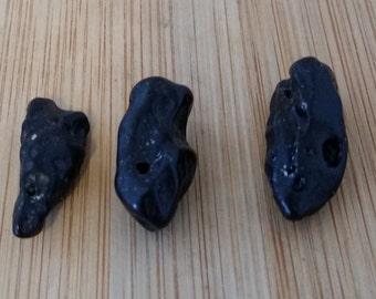 3 Pieces Tektite Stone Nuggets - Beads - Free Shipping