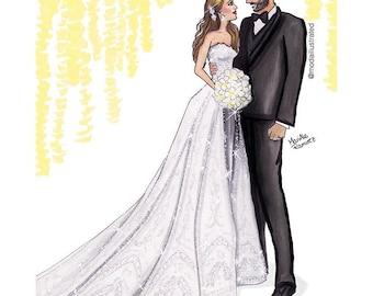 Wedding Portrait, Bridal Illustration,  Custom Illustration, couple illustration, Custom Portrait, custom drawing, bridal illustration